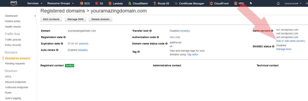 Registered domains, Add or edit name servers